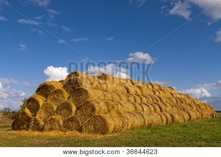 Stack Of Hay Bales.