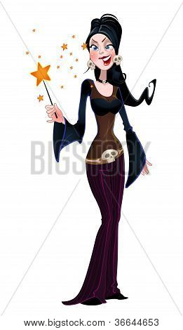 Dark Witch casts a spell wand