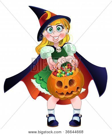 Girl hold in her hands pumpkin with a candy