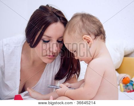 Baby Boy Using Smartphone