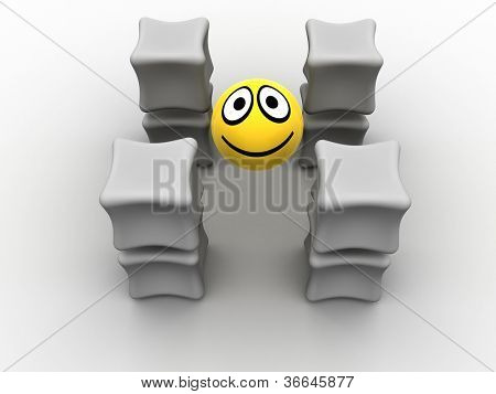 box and smile. 3d