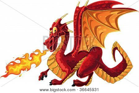 Fabulous Magical Red Fire-spitting Dragon