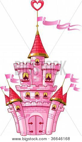 magical fairytale pink castle with flags