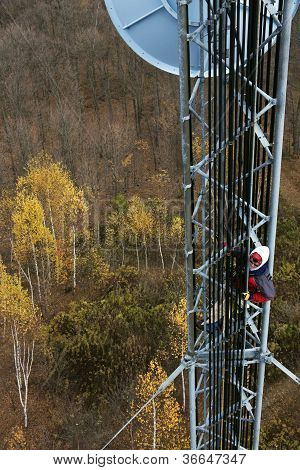 Climber On Cell Tower