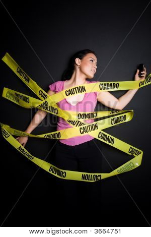 Businesswoman Trapped In Caution Tape
