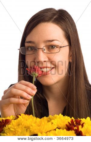 Secretary, Assistant Or Student Woman Smelling Flowers