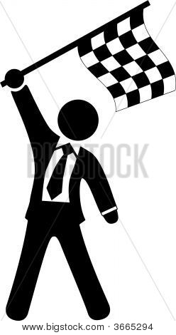 Business Man Celebrates Victory Waves Checkered Flag
