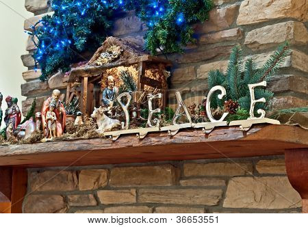 Peace Christmas Mantle Still Life