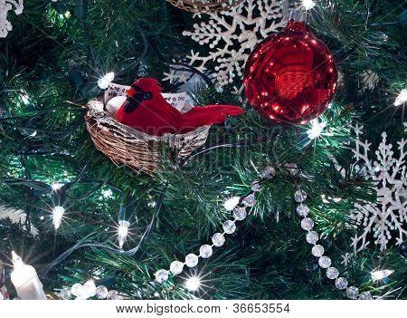 Red Cardinal Bird Christmas Ornamnet In Tree