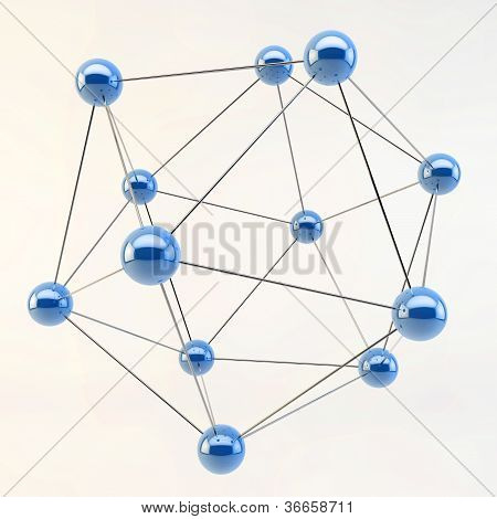 3D Abstract Linked Lines Connecting Spheres