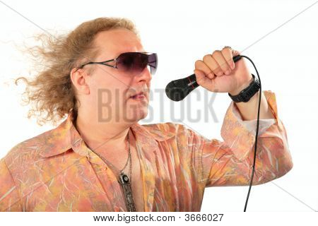 Mature Man With Microphone