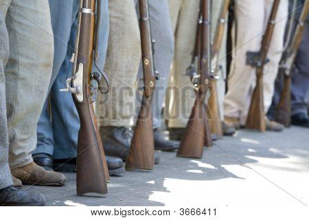 Civil War Re-Enactment - Guns And Legs
