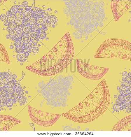 Seamless pattern with abstract fruit watermelon grapes