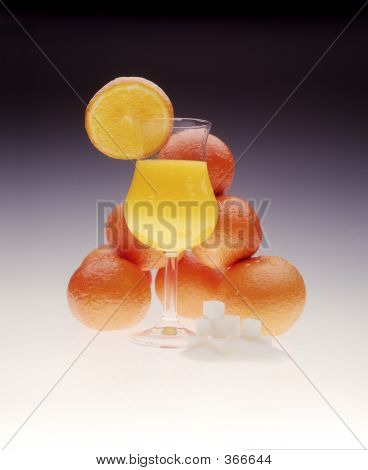 Oranges, Orange Juice, Sugar & A Glass