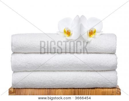 Fresh Towels On Bamboo