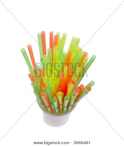 Plastic Straws In Drinking Cup