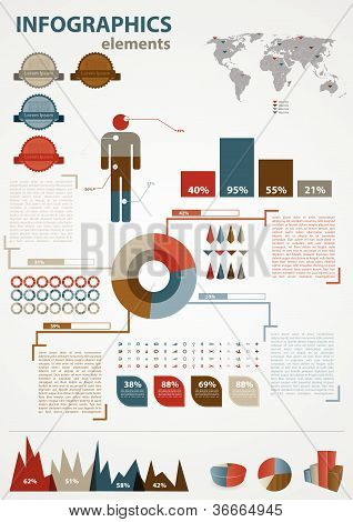 Retro infographics set. World Map and Information Graphics. Presentationdiagram.
