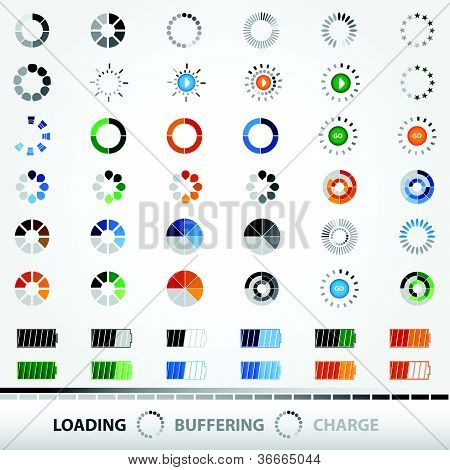 Loading, Charging, Buffering, Play, Go | Set of 48 Vector Icons