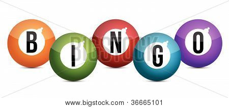 brightly coloured bingo balls illustration design