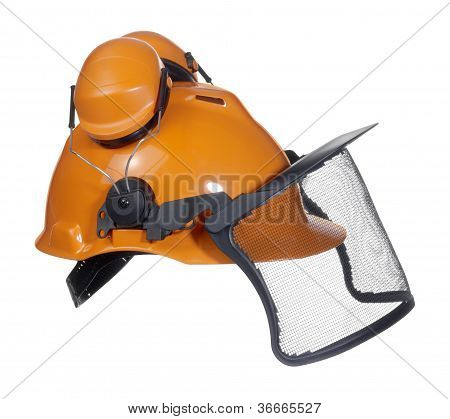 Protective Helmet In White Back