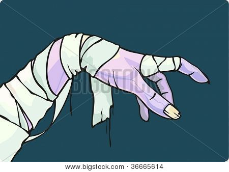 Scary Halloween illustration of a mummy hand