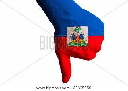 Haiti National Flag Thumbs Down Gesture For Failure Made With Hand