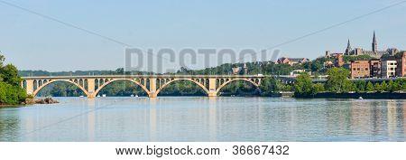 Washington DC - Francis Scott Key Bridge and Georgetown with Potomac River panoramic view