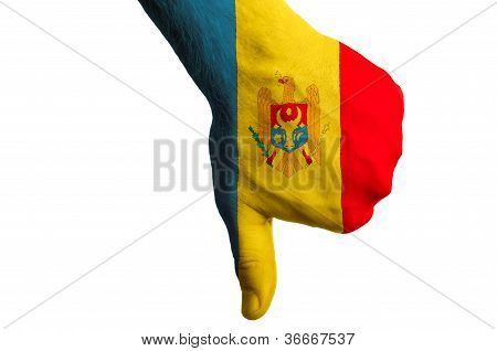 Moldova National Flag Thumbs Down Gesture For Failure Made With Hand