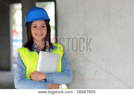 Portrait of smiling construction worker