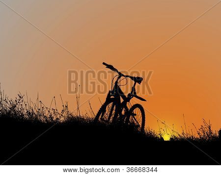 Bicycle on sunset