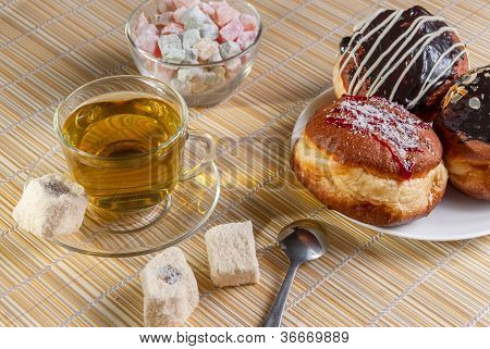 Close-up Green Tea And Sweet Dessert