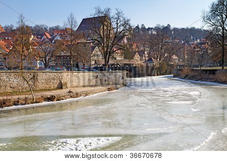 The small town of Schwaebisch Hall, Germany, in winter