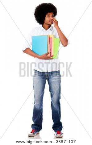 Anxious black student biting his nails - isolated over white