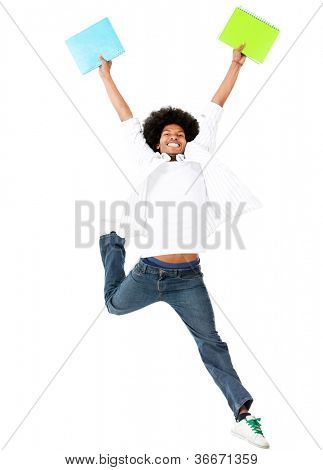 Happy black student jumping of excitement - isolated over a white background