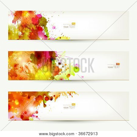 Set of three headers. Abstract artistic Backgrounds of autumn colors