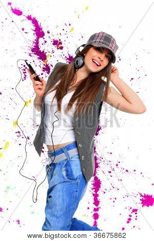 Beautiful woman listening to music over abstract background