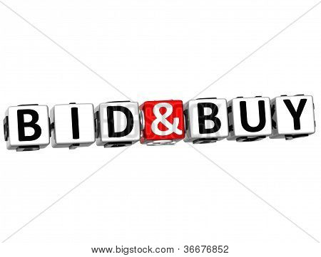 3D Bid And Buy Button Click Here Block Text