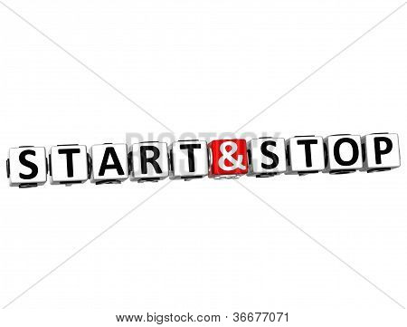 3D Start And Stop Button Click Here Block Text