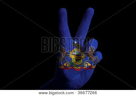Pennsylvania Us State Flag Two Finger Up Gesture For Victory And Winner Symbol Made With Hand