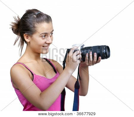 Young Girl, Holding A Digital Camera