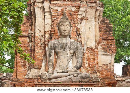 The Big Ancient Buddha Statue At Ayutthaya Historical Park