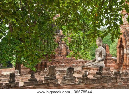 The Big Ancient Buddha Statue In Ruined Old Temple At Ayutthaya Historical Park
