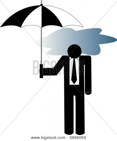 Business Man With Storm Cloud Under Umbrella.
