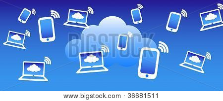 Cloud Phone Computing Background