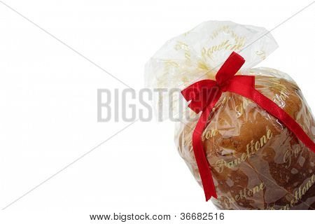 Wrapped panettone on white background