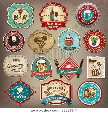 Collection of vintage retro grunge wine, beer, restaurant cafe and bar labels, badges and icons