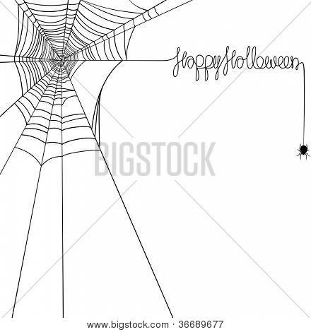 Happy Halloween spider web banner