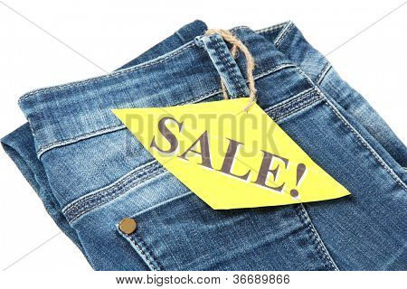 Fashion blue jeans on sale close-up isolated on white