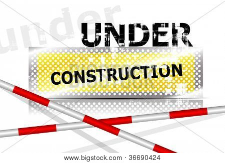 Under construction background sign with barrier