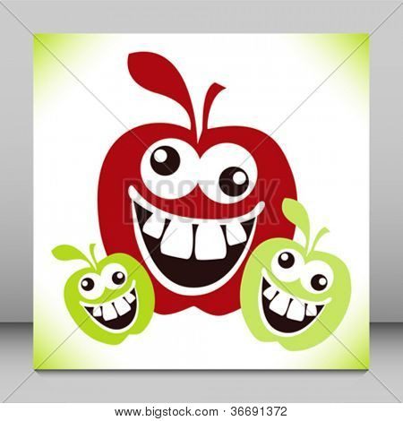download its about Funny Crazy Cartoon Faces Furry Face Apples pic